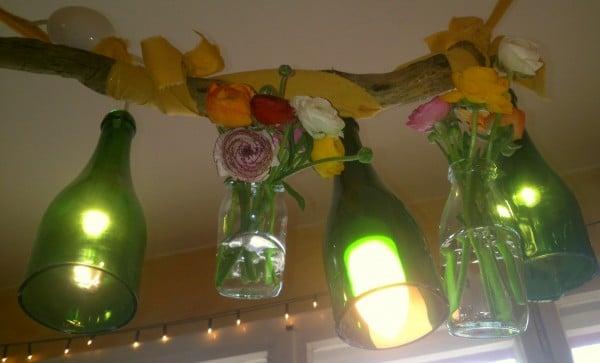 Frühlingslampe mit echten Blümchen