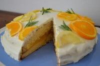 Lemon Curd-Kuchen im Zitrusfruchtkleid