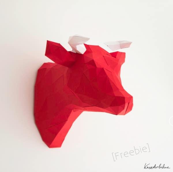 Origami Kuh als Wanddeko
