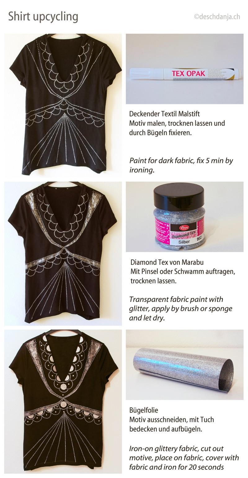 ein schlichtes shirt aufpeppen handmade kultur. Black Bedroom Furniture Sets. Home Design Ideas