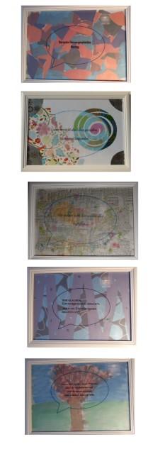Wanddeko: bunte Bilder mit schönem Spruch