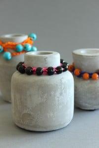 DIY - Perlen auf Concrete Kerzenhalter