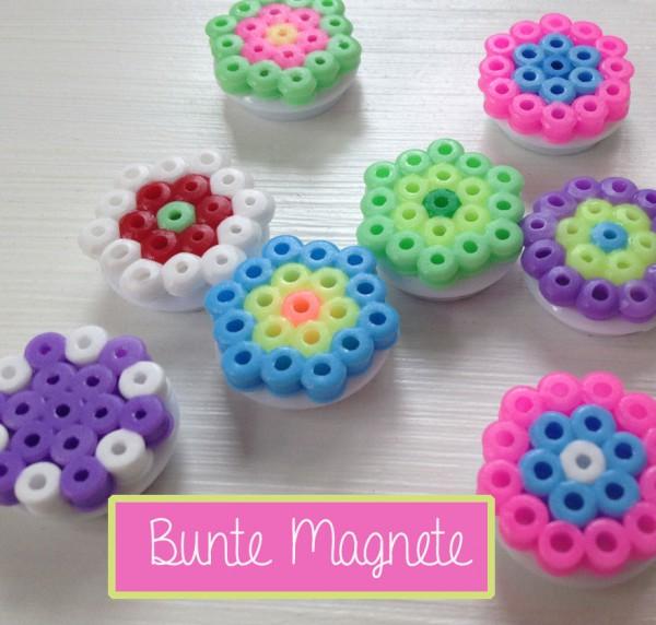Farbenfrohe Magnete aus Bügelperlen