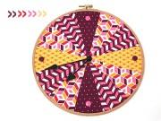 Stickrahmen Uhr im Patchwork-Look