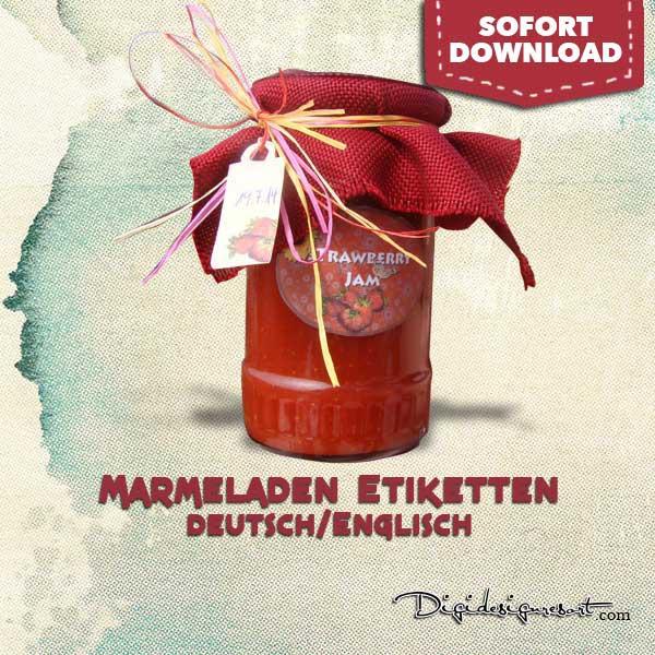 Marmeladenglas Etiketten mit Anhänger und Deckelaufkleber