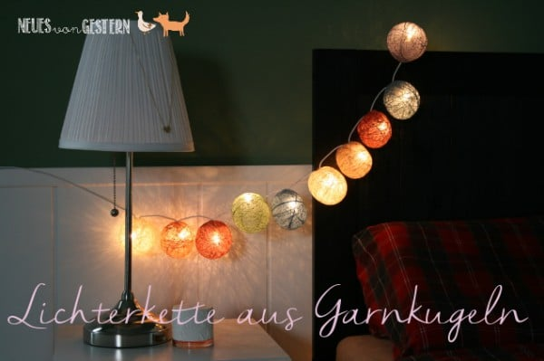 DIY Garnkugel Lichterkette