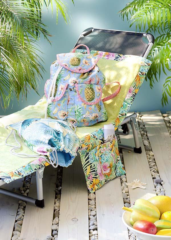 Sonnenliegen-Auflage mit Seitentaschen