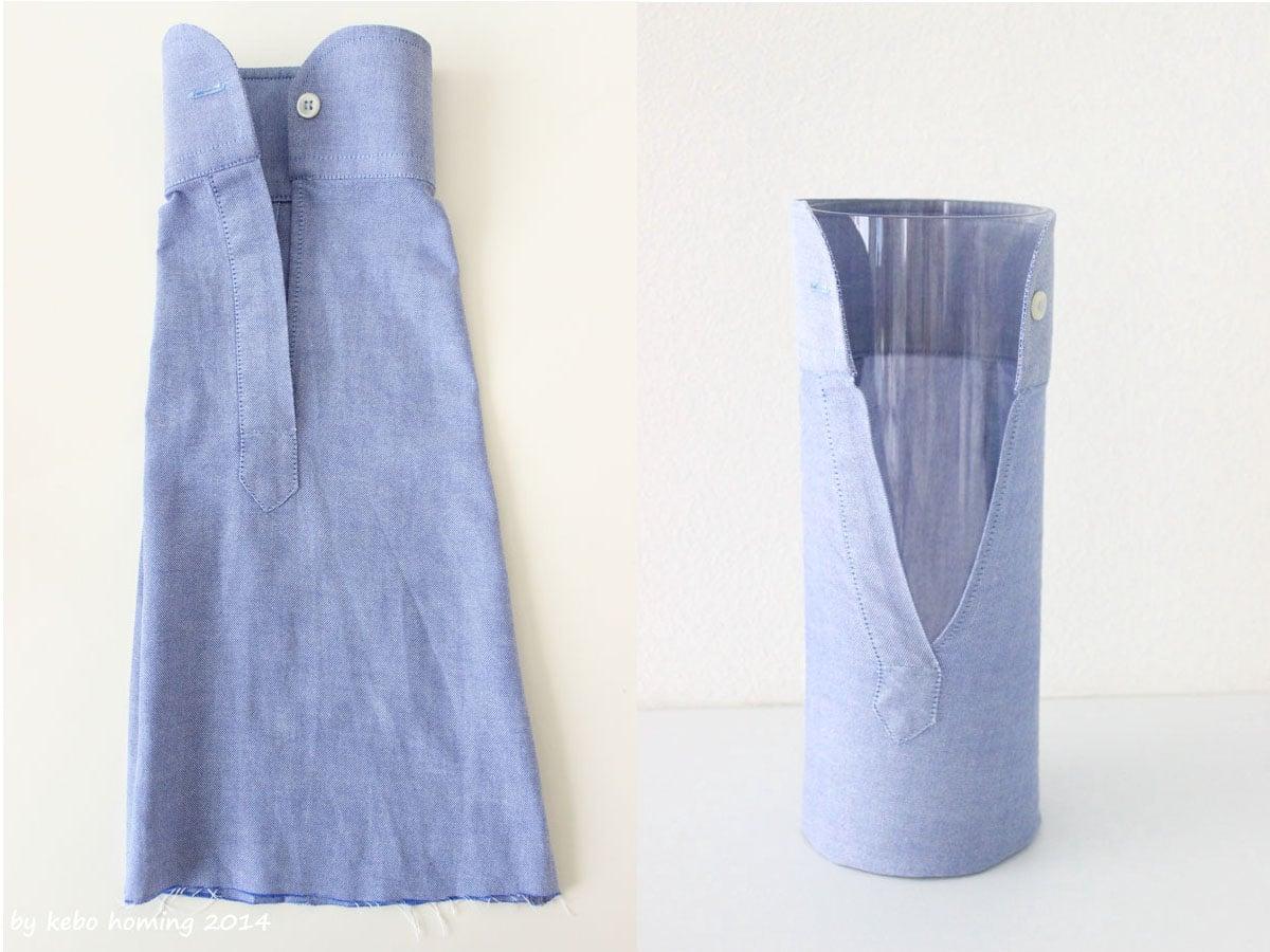 was man aus einem hemd rmel sch nes machen kann upcycling vase handmade kultur. Black Bedroom Furniture Sets. Home Design Ideas