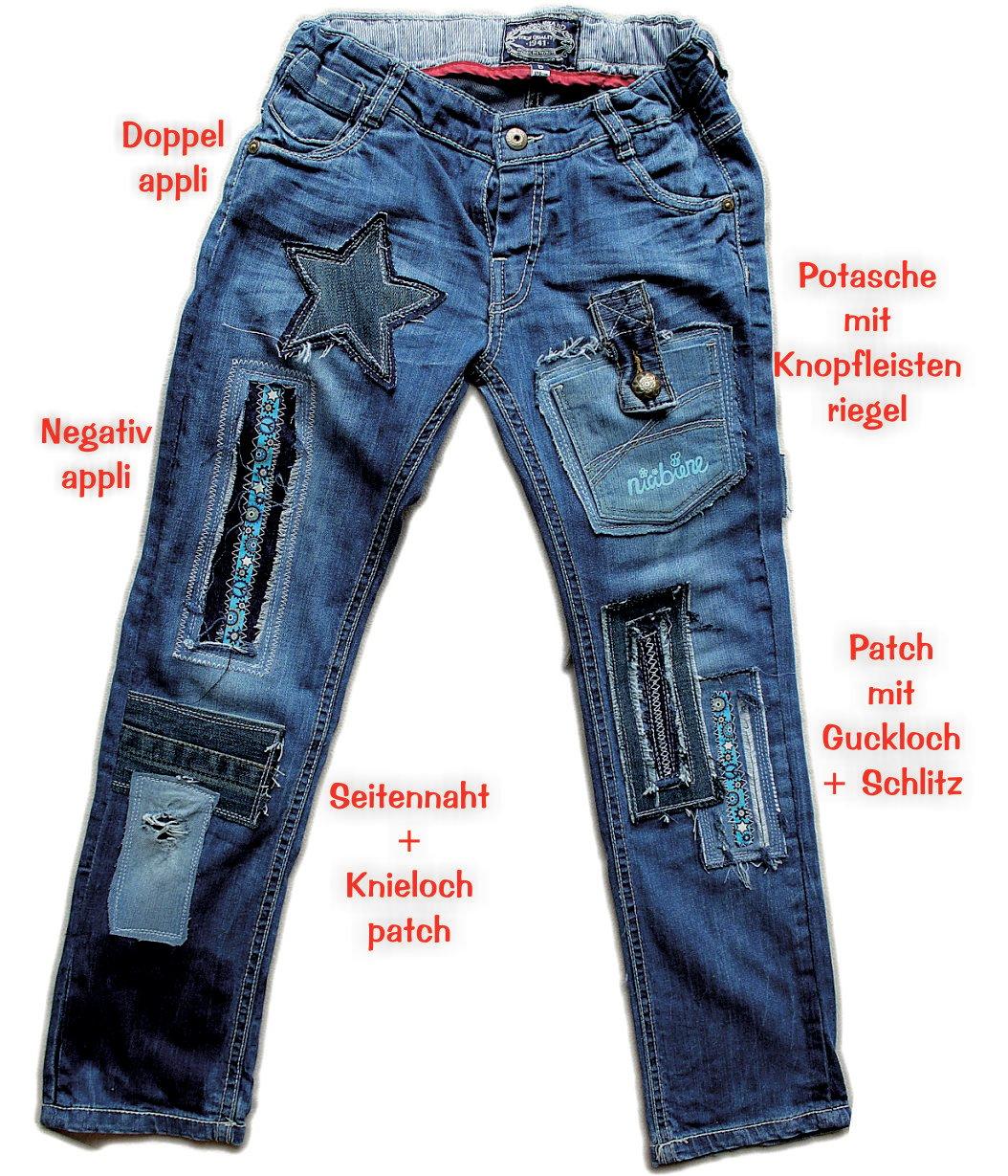 jeanshose mit loch freestyle flicken handmade kultur. Black Bedroom Furniture Sets. Home Design Ideas