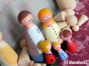 Puppenhausfiguren aus Holz - Kegelköpfchen