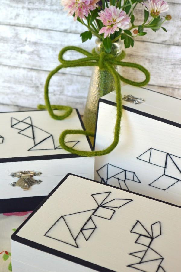 Fuchs, Bär, Hase-Tangram-Boxen im Stylischen Schwarz-Weiß-Look