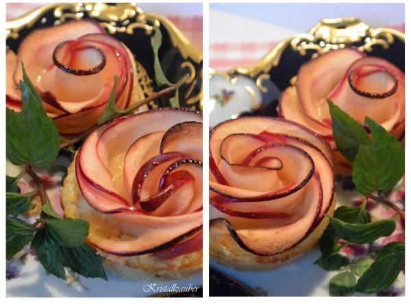Super leckere Apfel-Tartelettes in Rosen Form