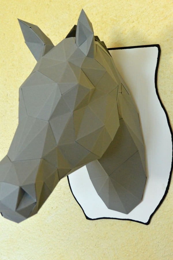 3D Origami Tierkopf und das passendes Brettchen