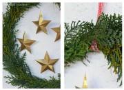 Türkranz mit 3D Sternen aus goldenem Glimmerpapier