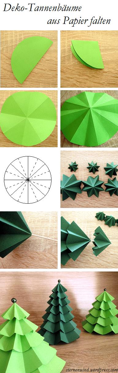 deko tannenb umchen aus papier falten handmade kultur. Black Bedroom Furniture Sets. Home Design Ideas