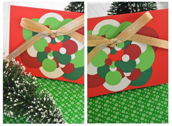 Weihnachtskarte mit Pünktchen- Kranz