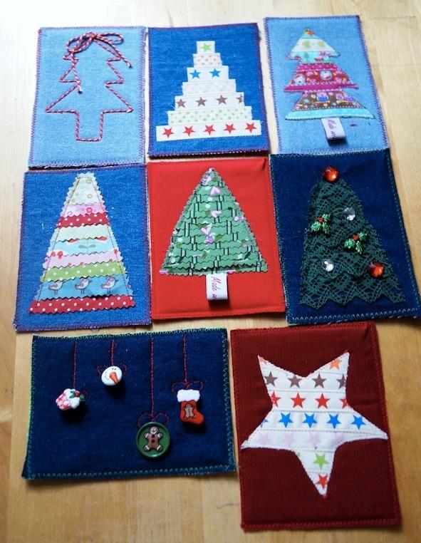 Weihnachtskarten nähen