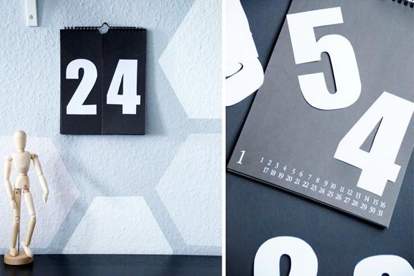 DIY Kalender mit Zahlen in schwarz/weiß