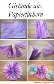 Papierfächergirlande mit Aquarellfarben