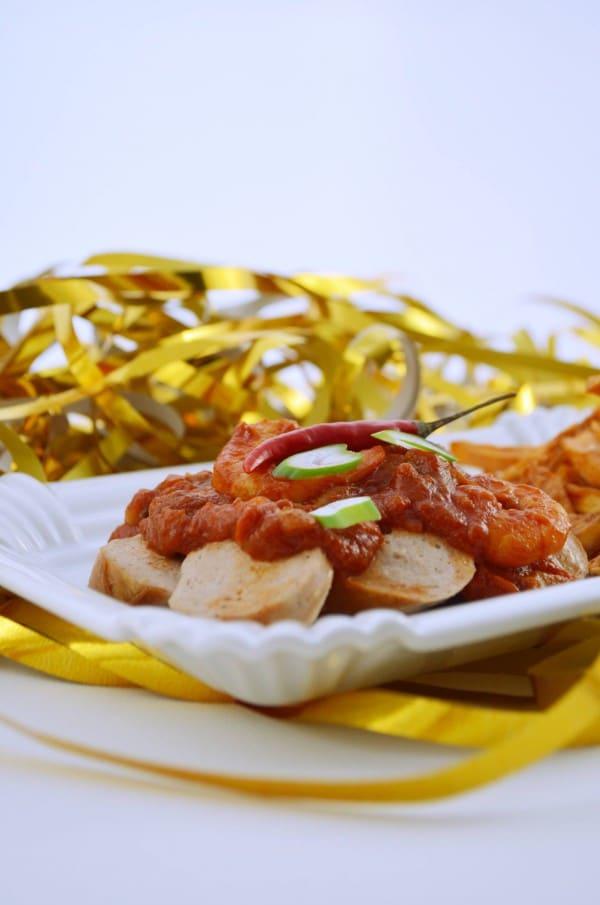 Currywurst Deluxe mit Süßkartoffelfritten von den [Foodistats]