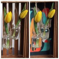 Frühlingsdeko: Vasen Mobile in Holzkiste