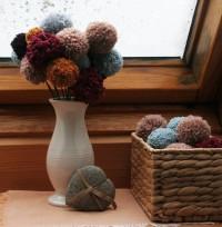 Knubbelblumen aus Textilgarn