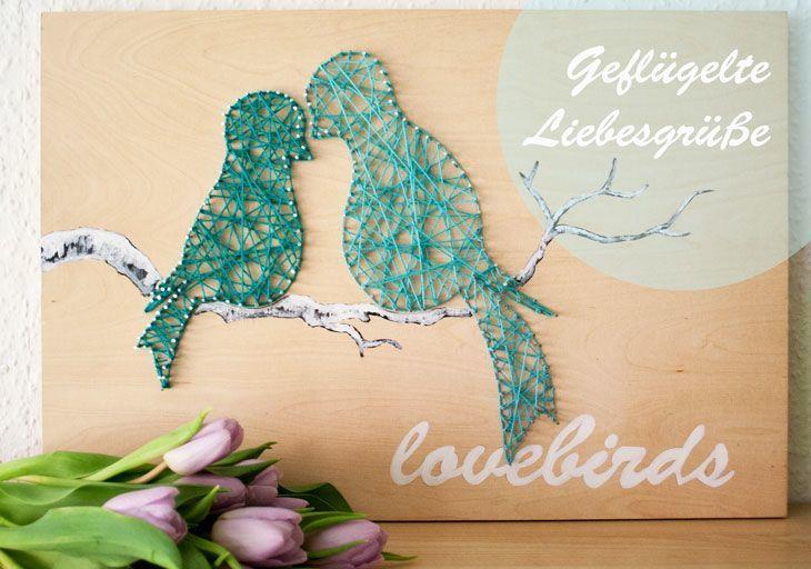 Liebesgr e mit string art handmade kultur - String art vorlagen kostenlos ...