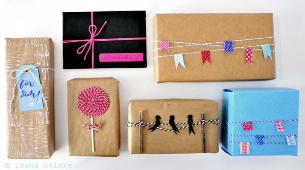 Geschenkverpackungen mit Bäckergarn