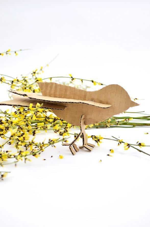 DIY Steckvogel aus Wellpappe