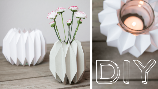 geometrische vase windlicht im origami design handmade kultur. Black Bedroom Furniture Sets. Home Design Ideas