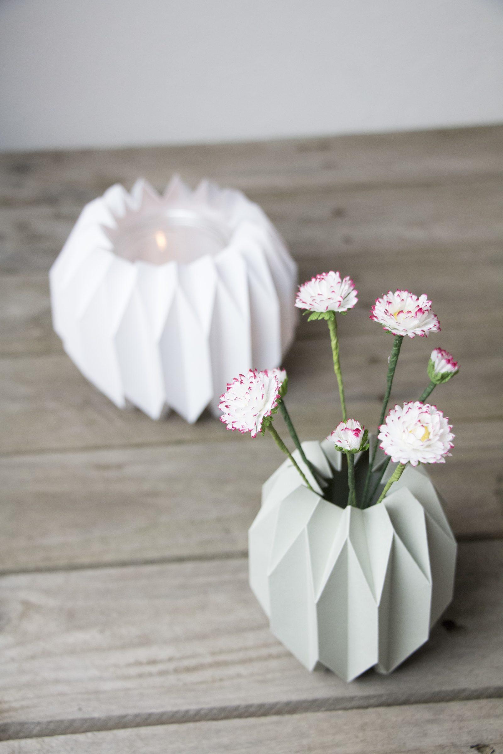 Geometrische Vase & Windlicht im Origami Design HANDMADE Kultur
