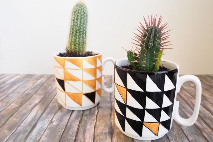 tassen im geolook bepflanzt handmade kultur. Black Bedroom Furniture Sets. Home Design Ideas