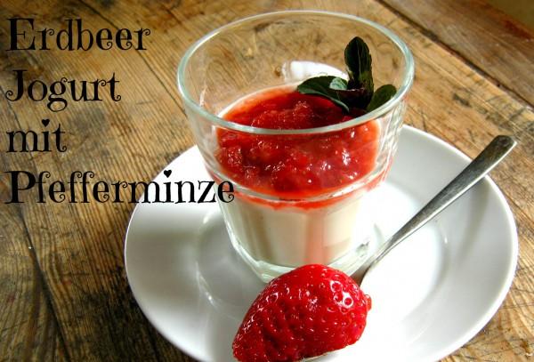 Erdbeer Jogurt mit Pfefferminz