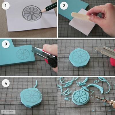 diy tutorial stempel selber machen handmade kultur. Black Bedroom Furniture Sets. Home Design Ideas