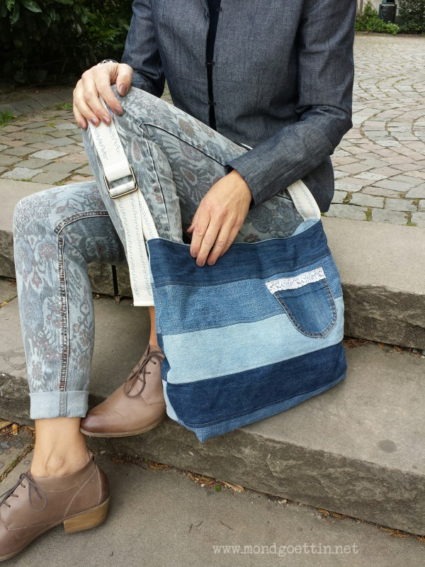 upcycling tasche aus jeans handmade kultur. Black Bedroom Furniture Sets. Home Design Ideas