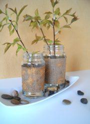 Vase aus Marmeladenglas