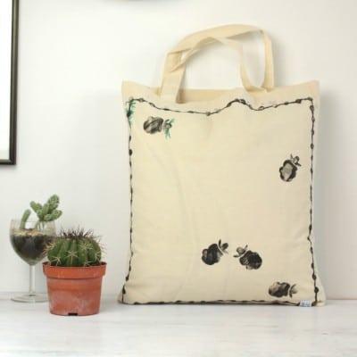 Baumwolltragetasche mit Tierkoppel Druck /beidseitig