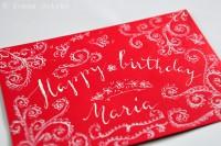 Lettering: Geburtstagskarte, Umschlag und Geschenk