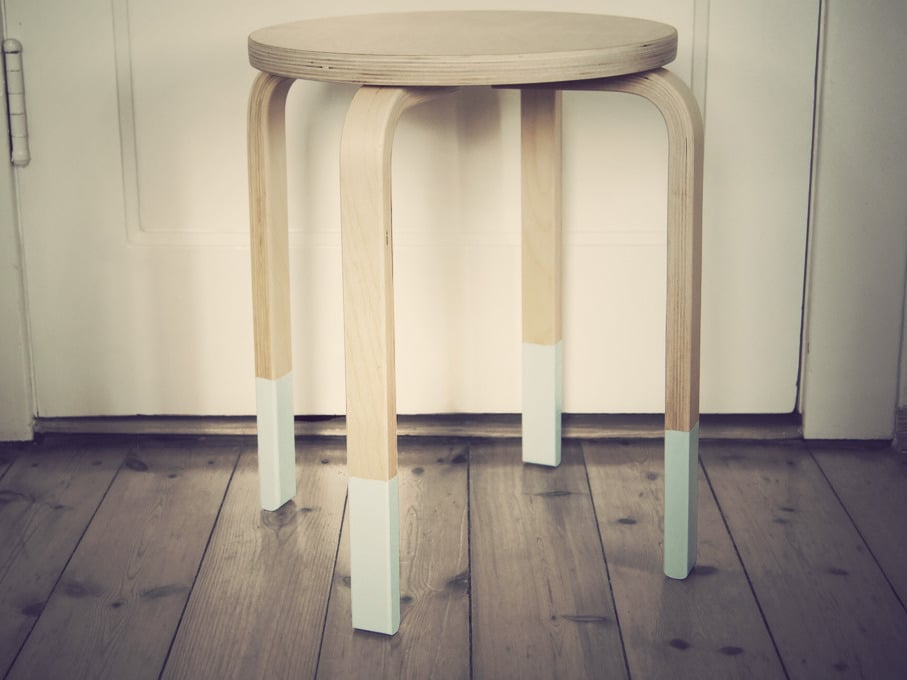 pastell holz hocker upcycling in mint handmade kultur. Black Bedroom Furniture Sets. Home Design Ideas
