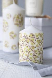 Serviettentechnik auf Kerzen ohne Kleber