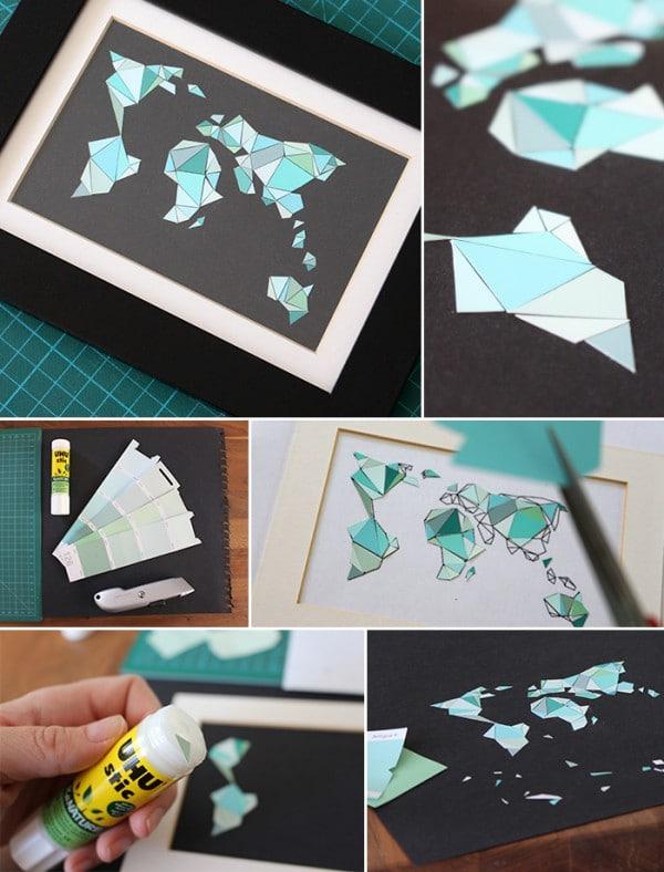 Mosaikweltkarte aus farbkarten handmade kultur for Farbkarten kostenlos