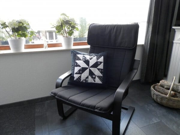 Patchwork Sternkissen - Lone Star black and white
