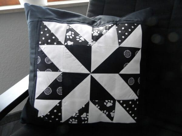 Patchwork Sternkissen Lone Star Black And White