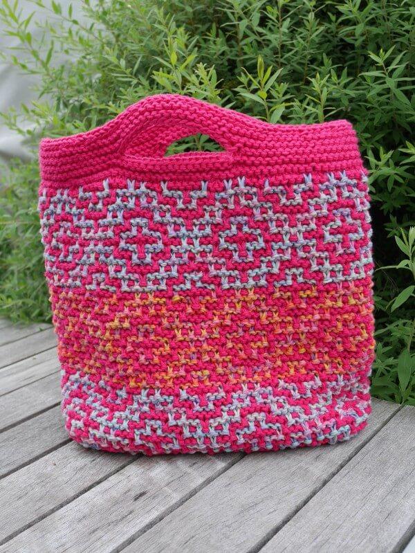 Tasche im Mosaikmuster stricken - HANDMADE Kultur