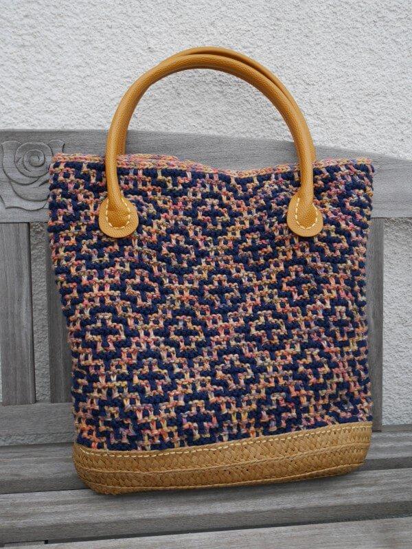 Tasche Im Mosaikmuster Stricken Handmade Kultur