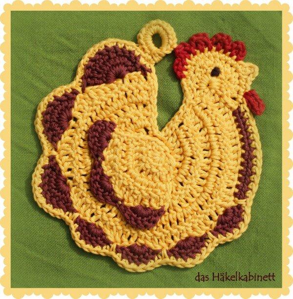 Topflappen Flotte Henne Handmade Kultur