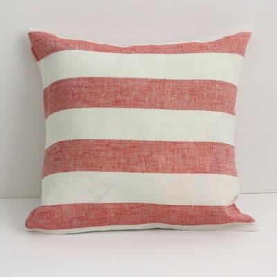 Leinen Kissenbezug Rissa Weiß Rot