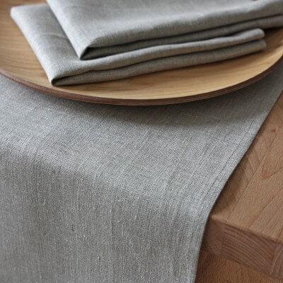 Leinen Tischläufer Lesna Natur Grau