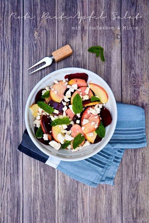 rote bete apfel salat mit schafsk se und minze sommersalatliebling handmade kultur. Black Bedroom Furniture Sets. Home Design Ideas