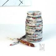 Paper Art Glas – umwickelt mit handgedrehter Papierkordel